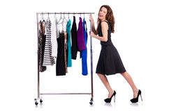 Woman trying new clothing. On white Stock Photo