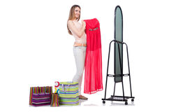 Woman trying new clothing Stock Images