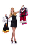 Woman trying new clothing Royalty Free Stock Photo
