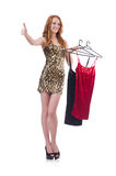Woman trying new clothing. On white Royalty Free Stock Photos