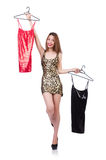 Woman trying new clothing on white Royalty Free Stock Images
