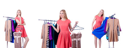 The woman trying new clothing on white. Woman trying new clothing on white Stock Photos