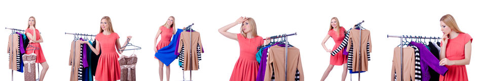 The woman trying new clothing on white. Woman trying new clothing on white Royalty Free Stock Photos
