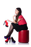 Woman trying new shoes isolated Stock Image