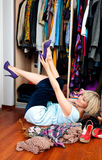 Woman trying shoes Royalty Free Stock Photography