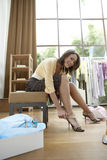 Woman Trying Shoes on Royalty Free Stock Photo