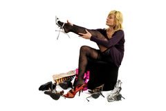 Woman trying on shoes Royalty Free Stock Photography