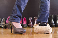 Woman trying on shoes at home Royalty Free Stock Photography