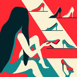 Woman trying on shoes. Pleasure of purchase. Illustration for magazines, sites,sales and discounts. Stock Images