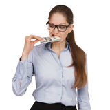 Woman trying to eat a hundred dollar bill Stock Photography