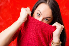 Woman trying to hide her face royalty free stock image