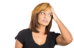 Woman trying to remember something Royalty Free Stock Images