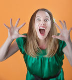 Woman Trying To Scare Others Royalty Free Stock Photography