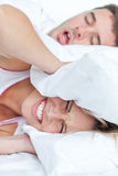 Woman trying to sleep Royalty Free Stock Photo