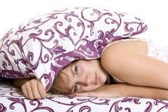 Woman trying to sleep Stock Image