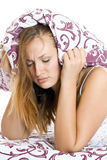 Woman trying to sleep Royalty Free Stock Image