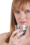 Woman trying to stay hydrated Royalty Free Stock Photo