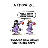 Woman trying  to say sorry to her friend. Woman trying but unable to say sorry to her upset friend Stock Photo