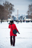 Woman in tuileries garden in Paris by winter Royalty Free Stock Photos