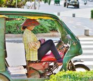 Woman - Tuk-tuk driver. Said profit Royalty Free Stock Photo