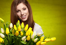 Woman with tulip Stock Photo