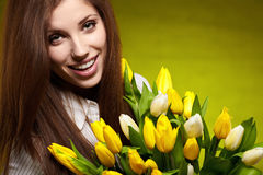 Woman with tulip Royalty Free Stock Image