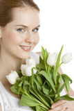 Woman with tulips. Portrait of woman with tulips Royalty Free Stock Images