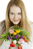 Woman with tulips Royalty Free Stock Photography