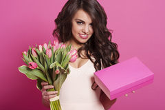 Woman with tulips and box gift Royalty Free Stock Photo