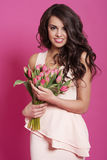 Woman with tulips Royalty Free Stock Photo
