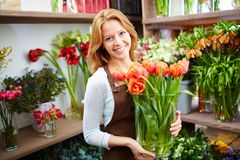 Woman with tulips royalty free stock image