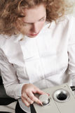 Woman tune a sound system. Portrait royalty free stock photography