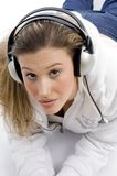 Woman tuned in music Royalty Free Stock Photos