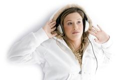 Woman tuned in music Royalty Free Stock Photo