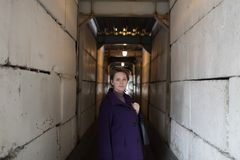 Woman in tunnel Stock Image