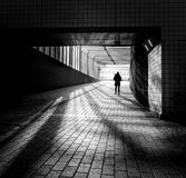 Woman in a Tunnel stock photography