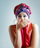 Woman in turban on her head Stock Photography