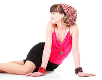 Woman in a turban isolated Royalty Free Stock Image