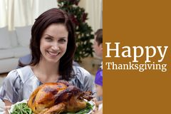 Woman with Turkey and Thanksgiving Message Design. Digital Composite of Woman with Turkey and Thanksgiving Message Design Royalty Free Stock Images