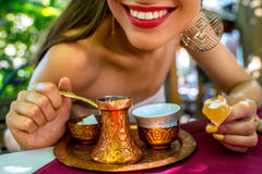Woman with turkish coffee Stock Photo