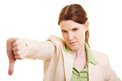 Woman turning thumb down Stock Photography