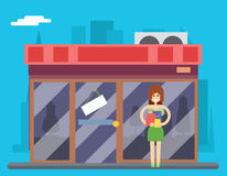 Woman Turns Out Overstock Store Sale Stock Illustration