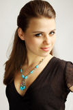 Woman in  turquoise Stock Photo