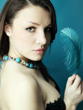 Woman with a turquoise Royalty Free Stock Photo