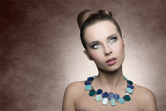 Woman with turquoise make-up Royalty Free Stock Photos