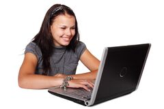 Woman in Turtle Neck Shirt With Grey and Black Laptop Computer Stock Image