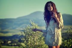 Woman in Tuscany garden stock photos
