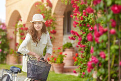 Woman in Tuscany garden. Royalty Free Stock Photo