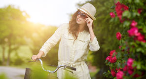 Woman in Tuscany garden. Royalty Free Stock Photography