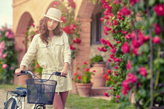 Woman in Tuscany garden. Summer time Stock Image
